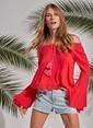 Morhipo Beach Düşük Omuz Püsküllü Bluz Kırmızı